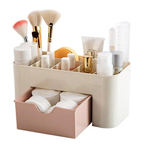 schreibtisch organizer handy, Multifunktionale Make-up Schmuck Büromaterial Zubehör Aufbewahrungskoffer mit Schublade für Kosmetik Visitenkarten Bleistift Mobiltelefon Fernbedienung - Rosa