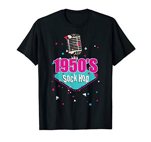 Fünfziger Jahre Kostüm Herren - Retro 1950er Jahre Socken Hopfen Tanz Fünfziger Jahre Kostüm T-Shirt