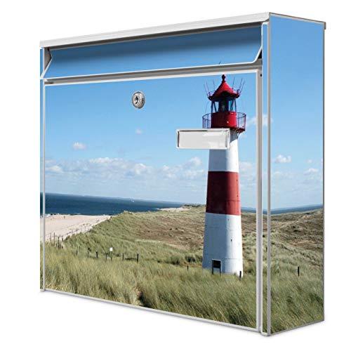 Burg Wächter Design Briefkasten | Postkasten 36 x 32 x 10cm groß | Stahl weiß verzinkt mit Namensschild | großer A4 Einwurf, 2 Schlüssel | Motiv Leuchtturm