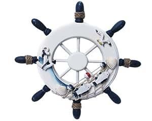 deko steuerrad schiff holz fischernetz muscheln fische maritime 01 k che haushalt. Black Bedroom Furniture Sets. Home Design Ideas