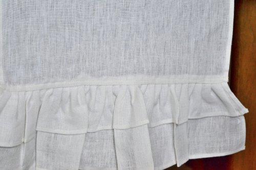 Hecho a mano Camino de mesa–Camino de mesa (Lino), color blanco con volantes en el camino de Boho Chic–Ends-