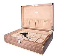 AXIS® Luxury Walnut Matte Finish lockable Wooden 10 Watch box