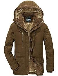 SRL Mens Parka Cappotti con Cappuccio di Pelliccia Caldo Giacche Invernali  per Uomo Cappotto Foderato in 38c3ef002b5