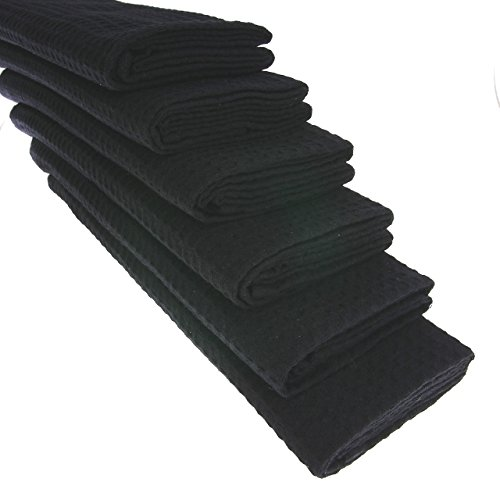 6x Geschirrtuch aus 100% Baumwolle Waffel-Piqué in schwarz