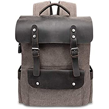 12ba94e4f7 VASCHY Vintage Canvas Leather Backpack Campus Book-Bag Outdoor ...