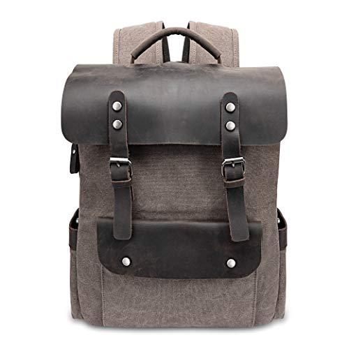 Leder Rucksäcke Herren, Canvas Rucksack Vintage Daypacks Große Kapazität 15,6 zoll laptop Tagesrucksack für Uni Büro Sportrucksack Reisetasche,Kaffeebraun