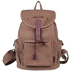DGY - Moda mochila de lona y PU cuero con diseño casual para mujer Bolsa de Viaje Mochila de a diario - E00117 Marrón