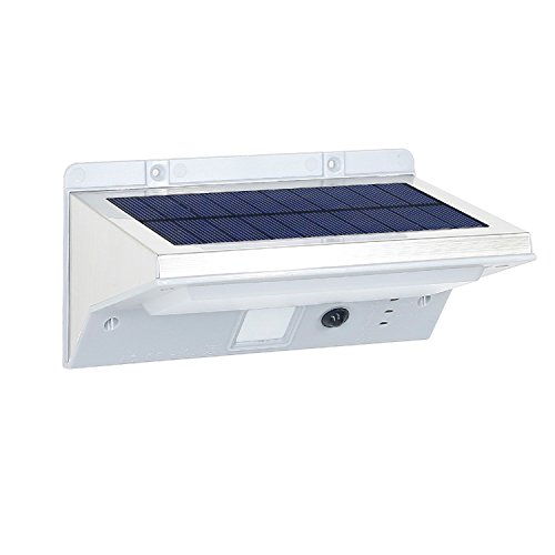 Der Generation 2. Solar-led-licht (Lumisky Derby W11Solar-Wandleuchte Spot Strahler 21LED Außen Wasserdicht Licht mit Bewegungsmelder, Stahl gebürstet, integriert, 2W, Edelstahl, 16.4x 10.9x 8.4cm)
