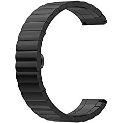 Replacement 1 Beads Stainless Steel Bands for LG LGW110 G Watch R Smartwatch (Black)