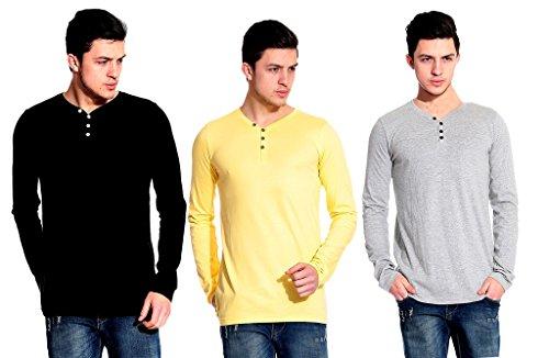 Lemon & Vodka Combo Pack of 3 Henley Mens Solid Tshirt-CMB10-L