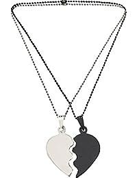 Gadgert Deals Couple Heart Pendant Silver Alloy Chain for Women & Men