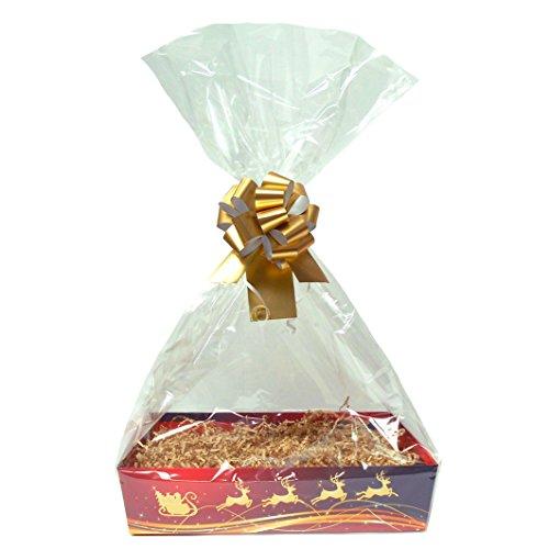 Oro de Navidad DIY cesta de regalo Kit–rojo/oro reno cartón bandeja, tiras rojas, lazo rojo, Violonchelo bolsa y etiqueta de regalo de color rojo (grande–35cm x 24cm x 8cm de alto), cartón, Rojo, Large - 35cm x 24cm x 8cm high