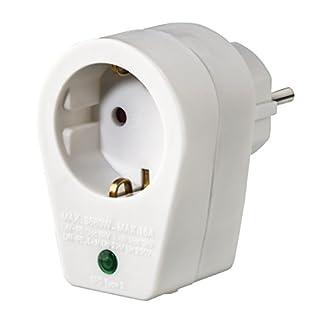 Hama Steckdosen-Adapter mit Überspannungsschutz (Blitzschutz für Telefonanlagen, PC, HiFi, TV-Geräte, bis 3500W, 230V, mit Kontrolllampe, Kindersicherung) Überspannungsschutzadapter weiß