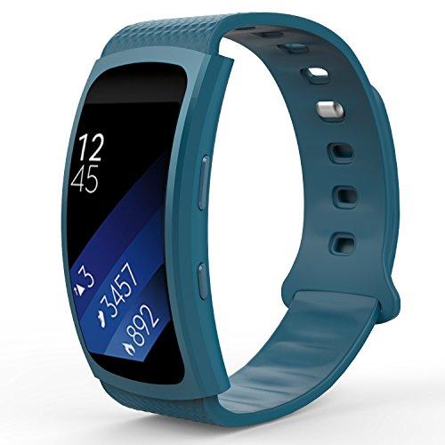 MoKo Armband für Samsung Gear Fit 2 / Fit2 Pro - Silikon Sportarmband Sport Band Uhrenarmband Erstatzband mit Stiftschließe für Gear SM-R360 / SM-R365 Smartwatch, Weiß, Bandlänge 126mm-213mm, Blau
