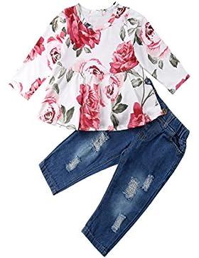 Baby Mädchen Mode Rose Printed Shirt TopsTops T-Shirt + Loch Denim Hosen Kleidung Set