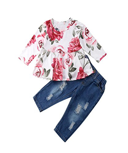 Baby Mädchen Mode Rose Printed Shirt TopsTops T-Shirt + Loch Denim Hosen Kleidung Set (9-12 Monate, Foral)