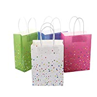 XNX 12 Pieces Christmas Color Paper Gift Bag Party Favor Bags Goodie Bags Treat Bags With Handle for Party Celebrations (12 Pieces)