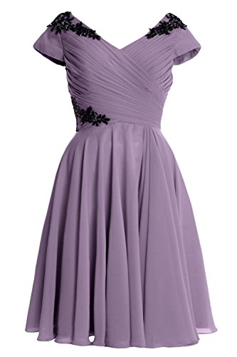 MACloth Elegant Cap Sleeve Short Mother of Bride Dress Cocktail Formal Gown Wisteria