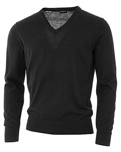 agon - Premium Herren Strick-Pullover, extrafein, 100% Merino-Wolle, V-Ausschnitt, Total-Easy-Care Schwarz 52/L Golf Herren Pullover
