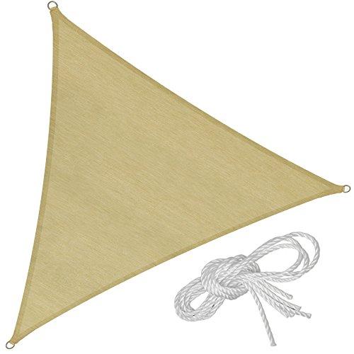 TecTake Voile d'ombrage Protection UV Solaire Toile tendue Parasol avec câbles de Tension - diverses modèles - (Triangle | 5 m | No. 401809)