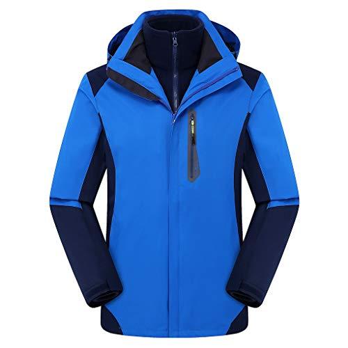 Toamen Uomo Cappuccio Impermeabile Giacca Leggero Pioggia Giacca All'Aperto Casuale Abbigliamento Sportivo Caldo Cotone Inverno Neve Cappotto Giacca A Vento Impermeabile(Blu,Large)