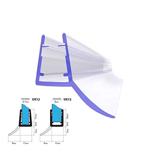 STEIGNER 80cm Ersatzdichtung für 5mm/ 6mm/ 7mm/ 8mm Glasdicke Wasserabweiser Duschdichtung UK12 Schwallschutz Duschkabine