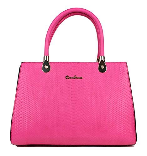 Tom & Eva Damen Tasche aus Kunstleder - Vintage Kroko Henkeltasche Pink Handtasche