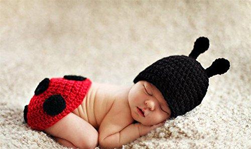 ENCOCO Baby Foto-Requisite Outfit Kleidung Stricken Häkeln Fotografie Kleinkind Niedliche Käfer Form Handarbeit Kostüm Mütze Unisex Mädchen Jungen Set (Niedliche Marienkäfer Kostüm Kleinkind)