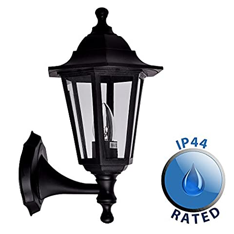 Traditional Style Black Outdoor Security IP44 Rated Wall Light Lantern