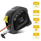 Uarter Telemetre Laser,Mètre Laser Numérique 40M,5M Mètre Ruban Laser,Télémètre Laser Portable Rechargeable par USB Avec Grand écran LCD