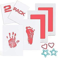 Baby Dusche Geschenk Blau Stempelkissen mit 2 Druckkarten Dsaren Baby Handabdruck und Fu/ßabdruck Abdruck Set