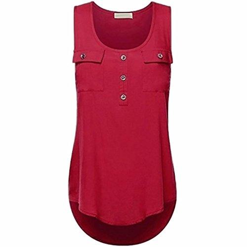 ZIYOU Blusen Ärmellos Damen, Frauen Casual Vest/Mode Tank Tops T-Shirts mit Tasche Einfarbig, S~5XL Größe (Weinrot, M) (Tunika Top Shirt Tank)