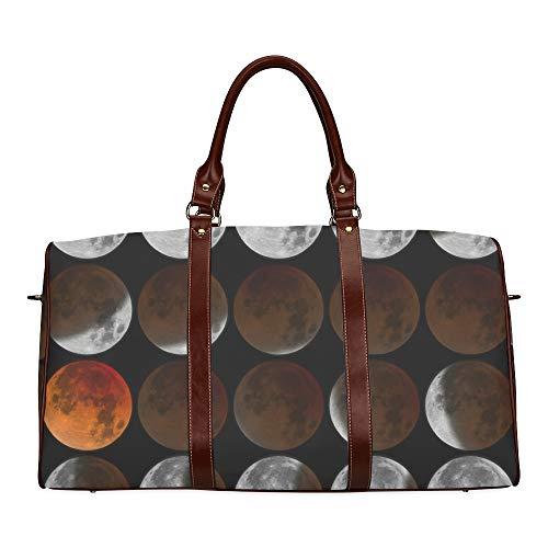 Travel Duffel Bag Ändern der Mondphase Nähte wasserdichte Weekender Bag Übernacht Carryon Handtasche Frauen Damen Einkaufstasche mit Mikrofaser Leder Gepäcktasche