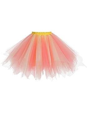 sumuya Tutu Falda Mujere Falda Enagua Cortas Tul Plisada Fiesta Vintage Retro Ballet Tutu Pettiskirt Traje de...