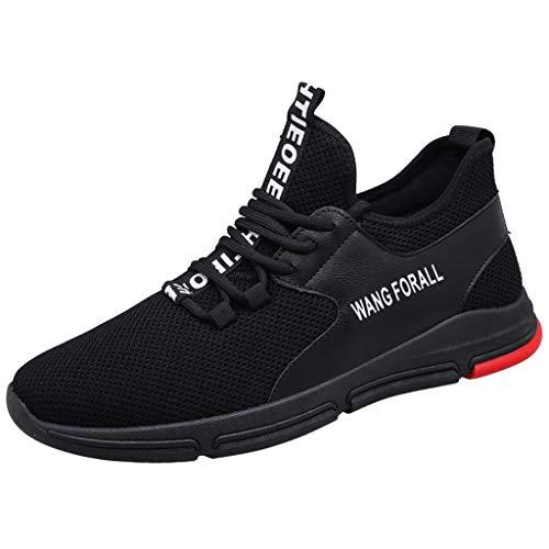 CUTUDE Herren Laufschuhe,Freizeitschuhe Herren Schuhe Sneaker Mode Atmungsaktives Mesh Kreuz Gym, Joggingschuhe (Schwarz, 43 EU)