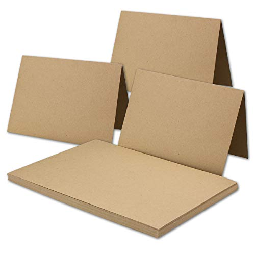 50x Vintage Kraftpapier Falt-Karten DIN A6-105 x 148 mm - sandbraun - Recycling - 240 g/m² blanko Klapp-Karten I Umwelt by Gustav NEUSER® - Faltkarte
