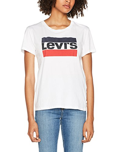 Levi's Sport Graphic Tee, Camiseta para Mujer, Blanco (White 297), Small