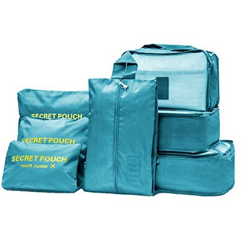 Organizador de Equipaje 7 en 1 Set Impermeable Organizador de Maleta Viaje con Bolsa de Zapato, Material Nylon-Meowoo(Lago Azul)