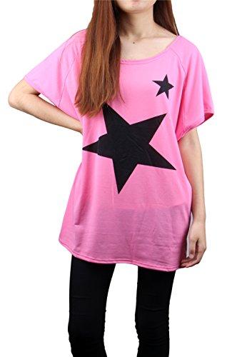 LATHPIN Top Damenshirt Oberteil Big Shirt Oversize Damen Batwing Freizeit  Rundhal Kurzarm Top T Shirt Bluse Rosa