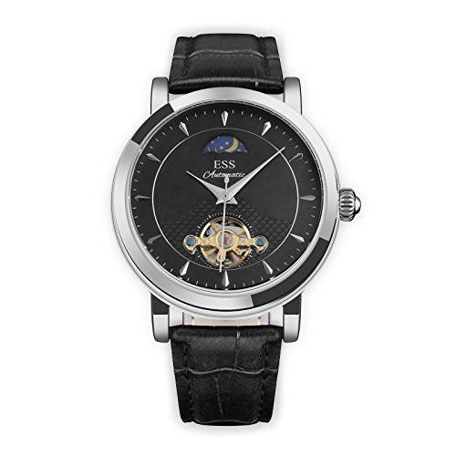 ESS Herren Selbstaufzug mechanisch Uhr Automatik Uhren silber Gehäuse