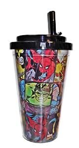Marvel SUPER HERO GRID 16 oz isotherme Gobelet à Paille