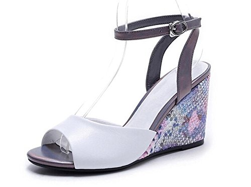 Beauqueen Peep-Toe Wedge Plantform Ferse Ankle Straps Pumps Frauen Sommer Casual Work Beach Sandanls Europa Größe 34-39 White