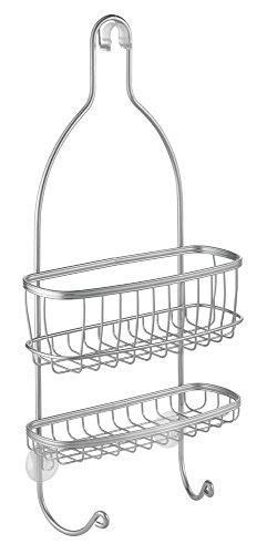 InterDesign York Dusch Caddy mit 2 Körben und Haken | Badregal ohne Bohren für Dusche und Badewanne | Duschablage zum Hängen | Metall silber