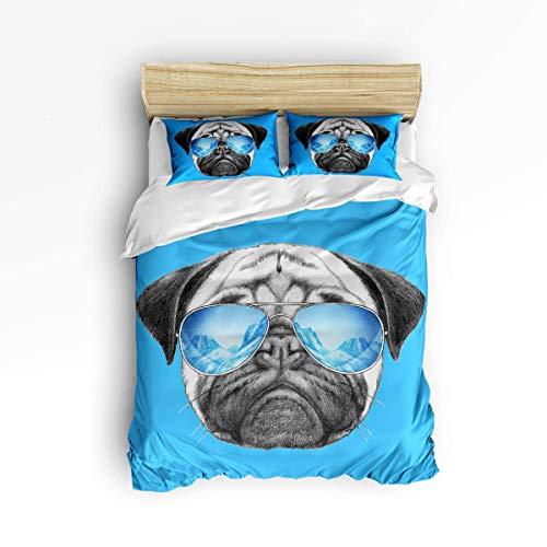 3 Stück Bettbezug-Sets für Jungen Mädchen, lustige Tier Mops Hund mit Sonnenbrille Blau Muster Erwachsene Bettwäsche-Sets, 1 Trösterbezug mit 2 Kissenbezügen
