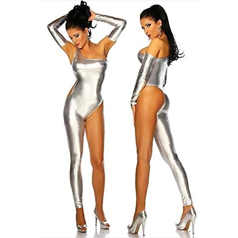 ZOYOL Discoteche tuta donna hot sexy abbigliamento di cuoio delle donne con il palo di una gamba sola danza vestiti cosplay costume , silver , m