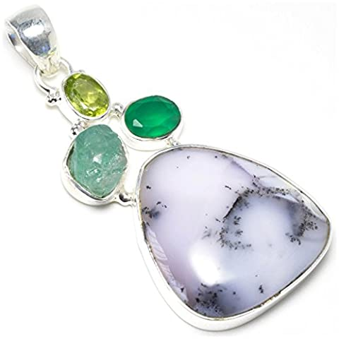 StarGems(tm) Natural Dendritic Opal, Rough Aquamarine, Chalcedony And Peridot Unique Design 925 Sterling Silver Pendant 2 1/8