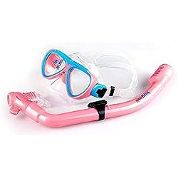 tomobile Masque de plongée pour Enfants, y Compris Masque de plongée et Tube de Respiration, Convient aux Enfants de 5 Ans et Plus