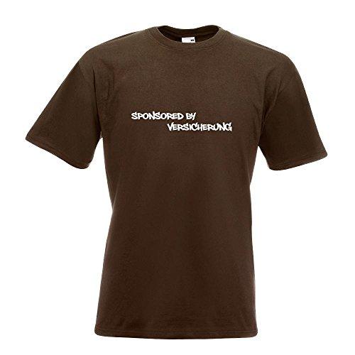 KIWISTAR - Sponsored by Versicherungen Insurance T-Shirt in 15 verschiedenen Farben - Herren Funshirt bedruckt Design Sprüche Spruch Motive Oberteil Baumwolle Print Größe S M L XL XXL Chocolate