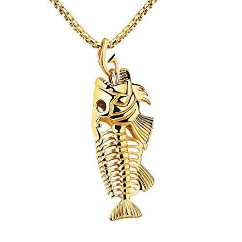 Herren Frauen Fisch Knochen Angeln Haken Skelett Anhänger Halskette mingfa Edelstahl Lange Pullover Kette Charm Statement Schmuck modisch gold (Angel Charms Gold)