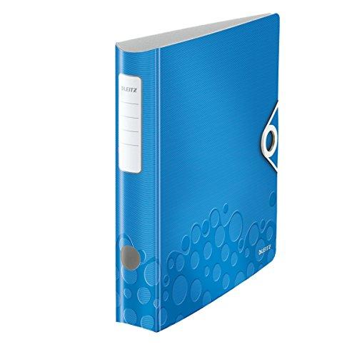 Leitz 11060036 Multifunktions-Ordner (A4, Runder Rücken 6,5 cm Breite, Gummibandverschluss, Kunststoff, WOW) blau metallic